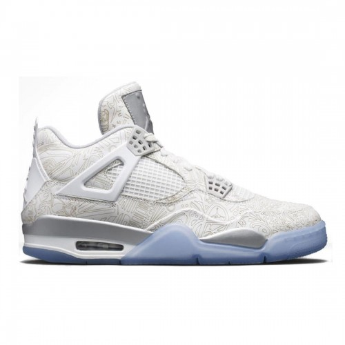 Authentic 705333-105 Air Jordan 4 Retro Laser White/Chrome-Metallic Silver