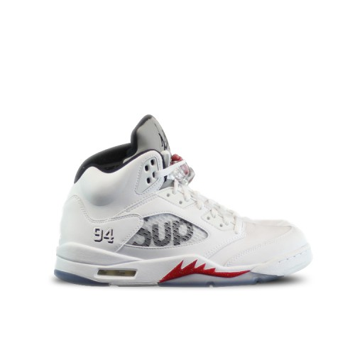 Authentic 824371-101 Air Jordan 5 Retro Supreme White Fire Red-Black (Men Women)