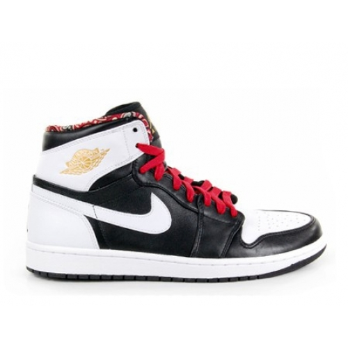 539542-035 Air Jordan 1 Retro High Black Metallic Gold Gym Red White