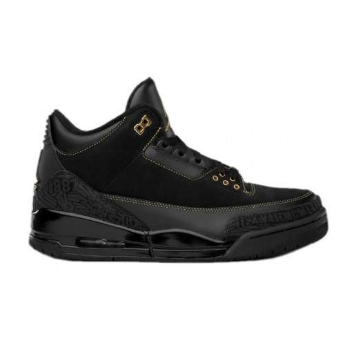 455657-001 Air Jordan 3 BHM Black History Month Black Metallic Gold A03015