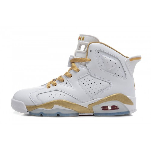 368497-135 Air Jordan 6 White metallic Gold(Women Men GS Girls)