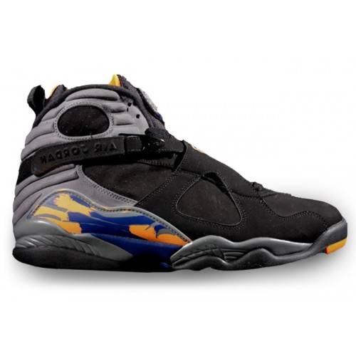 305381-043 Air Jordan 8 Retro Phoenix Suns Black Bright Citrus-Cool Grey-Deep Royal