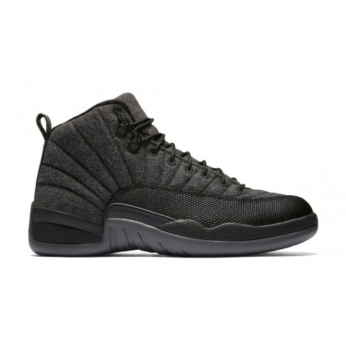 "Authentic Air Jordan 12 Retro ""Wool"" Dark Grey/Metallic Silver-Black (852627-003)"