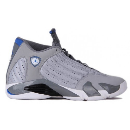 Authentic 487471-004 Air Jordan 14 Retro Wolf Grey/White-Sport Blue