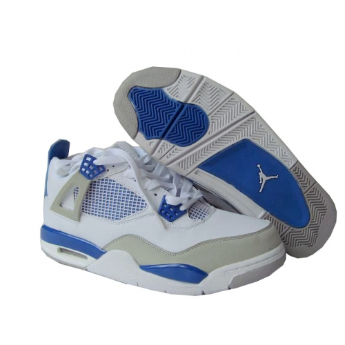 308498-141 Air Jordan 4 retro (gs) off white military blue neutral grey A24012